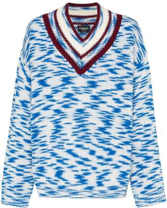 Calvin Klein oversized V-neck printed sweater
