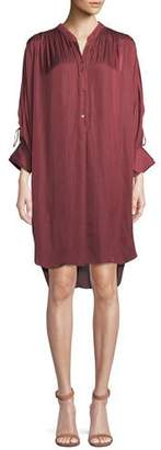 Halston Ruched Oversized Shirt Dress