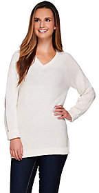 Denim & Co. Long Sleeve V-neck Sweater withLurex