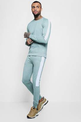 boohoo Sweater Tracksuit With Contrast Side Panels