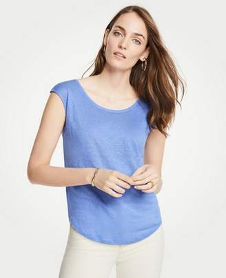 Ann Taylor Linen Scoop Neck Tee