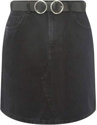 Dorothy Perkins Womens Black Belted Mini Denim Skirt
