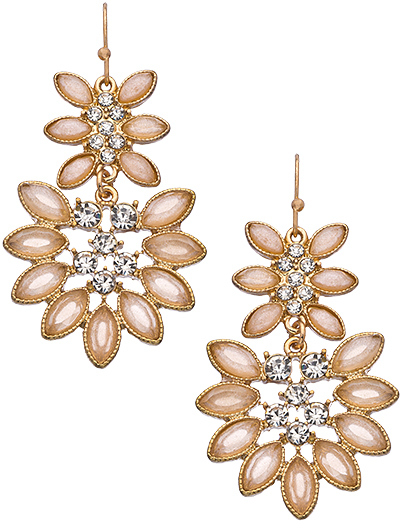 Blu Bijoux Peach Crystal Marquise Chandelier Earrings
