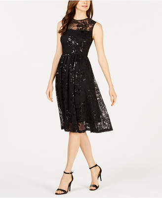 Calvin Klein Sequined Illusion Fit Flare Dress