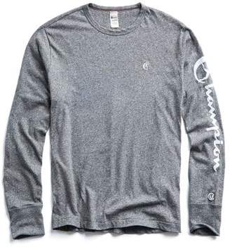 Todd Snyder + Champion Champion Long Sleeve Arm Graphic in Salt & Pepper
