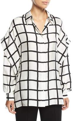 Diane von Furstenberg Grid-Print Button-Down Long-Sleeve Silk Shirt