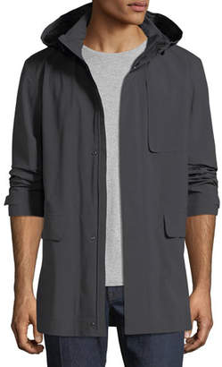Z Zegna Anthracite Hooded Raincoat