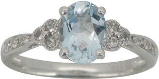 JCPenney FINE JEWELRY Aquamarine & Lab-Created White Sapphire Vintage-Style Ring Sterling Silver