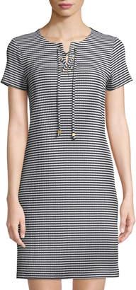 MICHAEL Michael Kors Striped Lace-Up T-Shirt Dress
