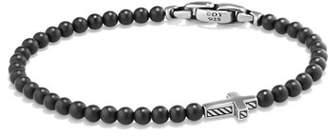 At Neiman Marcus David Yurman Men S Cross Station Bead Bracelet In Black Onyx