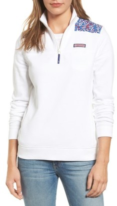 Women's Vineyard Vines Shep Contrast Yoke Quarter Zip Pullover $108 thestylecure.com