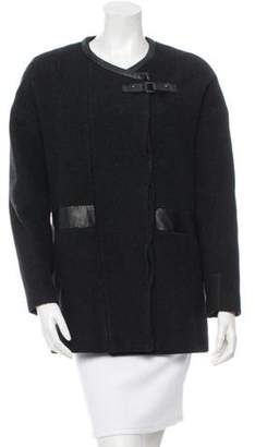 Comptoir des Cotonniers Leather Accented Wool Coat Black Leather Accented Wool Coat