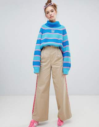 Lazy Oaf wide leg pants with checkerboard stripe detail