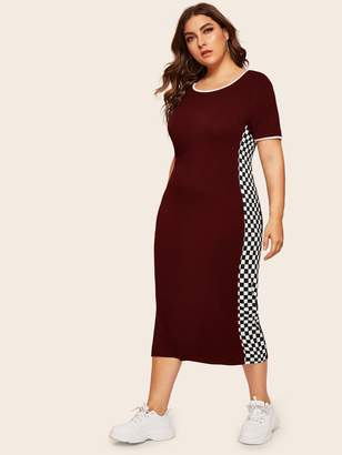 Shein Plus Checked Side Seam Ringer Dress