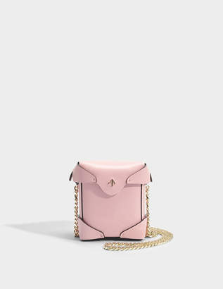 Atelier Manu Micro Pristine Bag with Chain Strap in Bubblegum Vegetable Tanned Calfskin