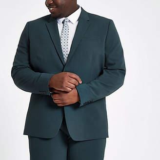 River Island Big and Tall dark green skinny fit jacket