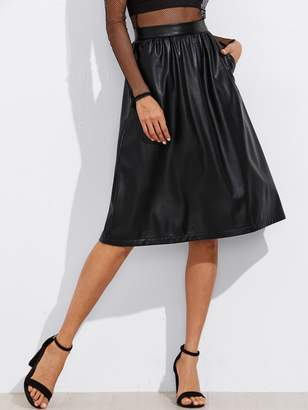 Shein Exposed Zip Back Faux Leather Skirt