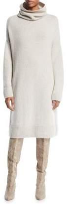 Loro Piana Darlington Turtleneck Long-Sleeve Shift Cashmere Dress