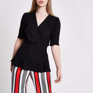 River Island Womens Black short sleeve tie waist blouse