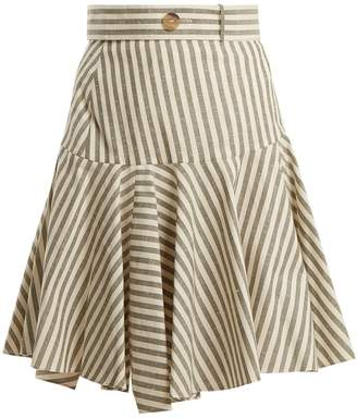 High-rise striped fluted-hem skirt