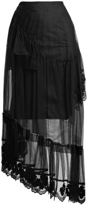 Simone Rocha 4 Moncler Embroidered Lace Trimmed Tulle Skirt - Womens - Black