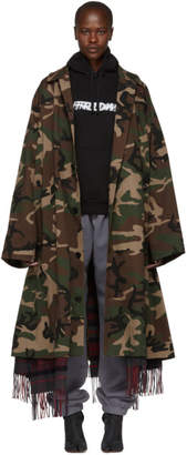 Green Camouflage Scarf Trench Coat
