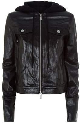 Helmut Lang Knit Hood Leather Jacket