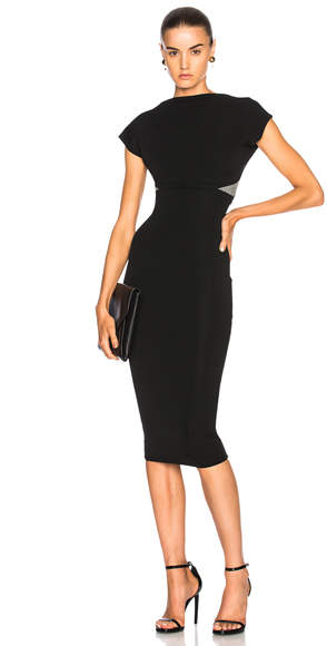 Victoria Beckham Dense Rib Backless Fitted Midi Dress