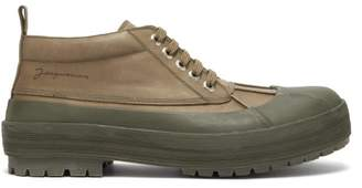 Jacquemus Meuniers Leather And Rubber Lace Up Shoes - Mens - Khaki