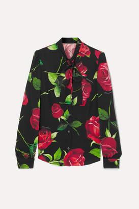 Dolce & Gabbana Pussy-bow Floral-print Silk-blend Blouse - Black