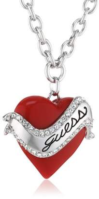 GUESS Women's Necklace Silver Rhodium Plated Pendant with White Crystals 80 cm UBN81131