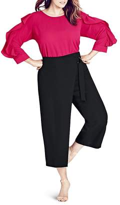 City Chic Cropped Faux Wrap Pants