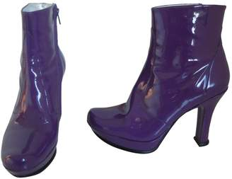 Free Lance Purple Patent Leather Ankle Boots
