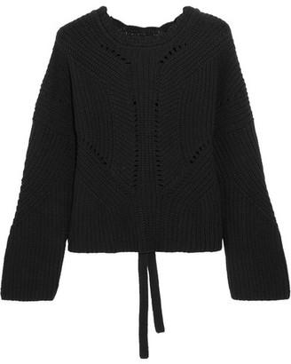 Isabel Marant - Grifin Lace-up Cotton-blend Sweater - Black $800 thestylecure.com