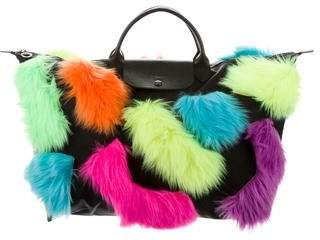 Jeremy Scott x Longchamp Faux Fur-Accented Large Pliage Tote