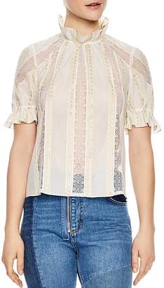 Sandro Ramia Embroidered Lace-Inset Top