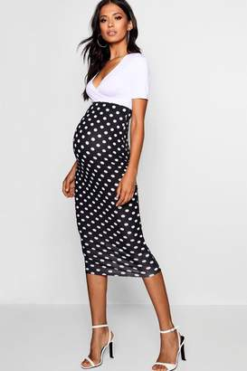 boohoo Maternity Over The Bump Spot Midi Skirt
