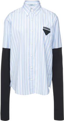 Prada Paneled Jersey And Striped Cotton-Poplin Shirt