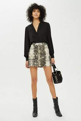 Topshop Womens Petite Snake Print Denim Skirt