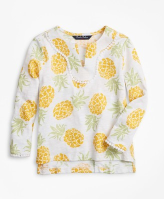 Brooks Brothers Girls Cotton Pineapple Print Tunic T-Shirt