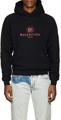 Balenciaga Men's Logo Cotton-Blend Fleece Hoodie - Black