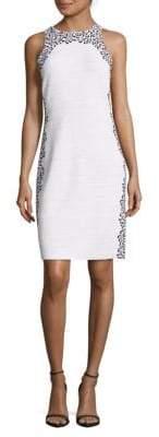 St. John Printed Sleeveless Wool-Blend Dress