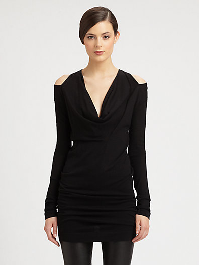 Donna Karan Cashmere Cutout-Shoulder Draped Tunic