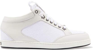 Jimmy Choo Miami Canvas-paneled Leather Sneakers - White
