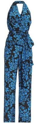 Diane von Furstenberg Belted Printed Silk Halterneck Jumpsuit