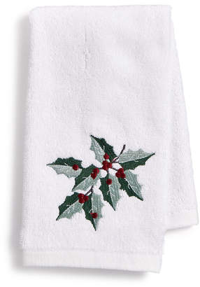 Martha Stewart Collection Closeout! Collection Holly Embroidered Cotton 2-Pc. Fingertip Towel Set