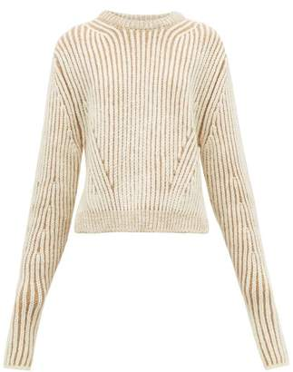 Chloé Two Tone Ribbed Wool Blend Sweater - Womens - Beige Multi