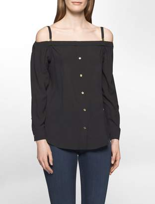 Calvin Klein button-down off-shoulder top