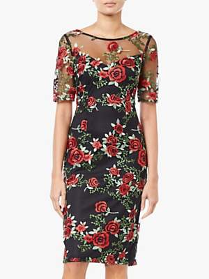 Adrianna Papell Falling Roses Tulle Overlay Dress, Black/Multi