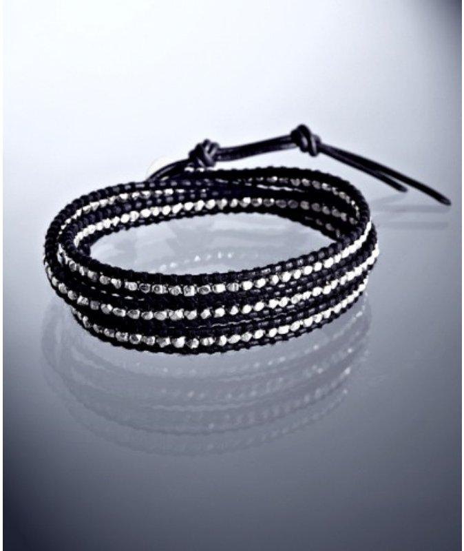 Chan Luu sterling silver beaded leather wrap bracelet